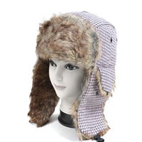 Vintage Pattern Fur Trapper Aviator Hat, Pink