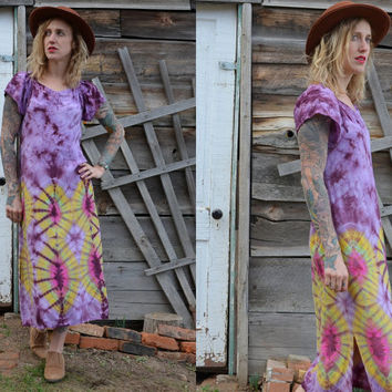 90's Lavender Tie Dye Bohemian Hippie Grateful Dead Parking Lot Dress