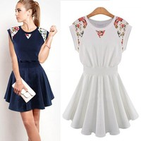 Etosell Trendy Lady Lace Floral Dresses One-Piece Sleeveless Mini Dress