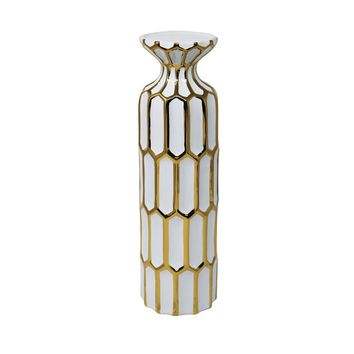 Vintage Inspired Pillar Shaped Ceramic Candle Holder, White And Gold By Sagebrook Home
