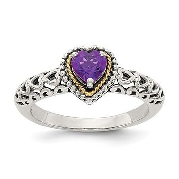925 Sterling Silver with 14KY Accent Antique Amethyst Heart Ring