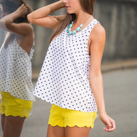 Pretty In Preppy Tank, White-Black
