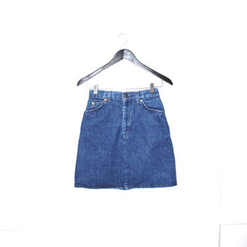 LEVIS denim skirt 90s vintage MINIMALIST dark jean pencil skirt size 4/5