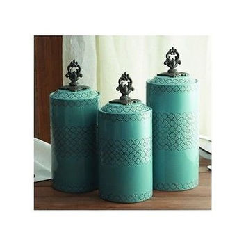 Canister Set Blue Ceramic 3 Piece Asian Kitchen Counter Jars Turquoise NEW