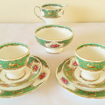 Vintage Foley tea coffee set 2 trios milk jug creamer sugar bowl English bone china Montrose pattern green white gold pink floral. 1950s.