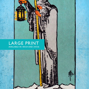 Tarot Print The Hermit Retro Illustration Art Rider Print Vintage Giclee on Cotton Canvas and Satin Photo Paper
