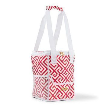 On-The-Go Cooler Bag - Pink & White Greek Key (Pack of 1)