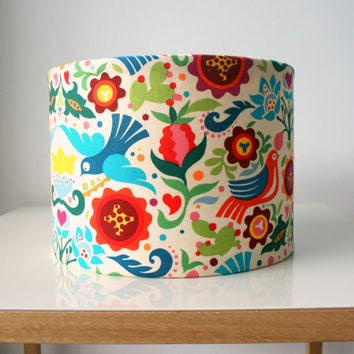 Fabric lampshade drum - designer fabric covered light shade, for table lamp