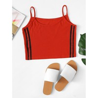 Contrast Stripe Knit Cami Top Red