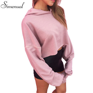 Autumn new 2016 pink crop women hoodies sweatshirts fashion new slim short hooded sweatshirt big size loose sexy hoody svitshot