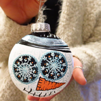 Hand Painted Plastic Sugar Skull Snowman Ornament