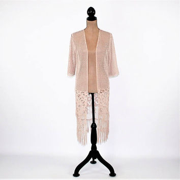 Boho Crochet Duster Long Cardigan Blush Taupe Cotton Lace Jacket Romantic Edwardian Vintage Style Clothing Small Medium Womens Clothing