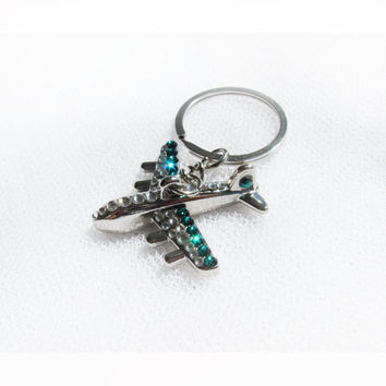 airplane with crystals airplane gift key chain emerald airplane with Swarovski crystals freedom airplane key ring airplane keyring
