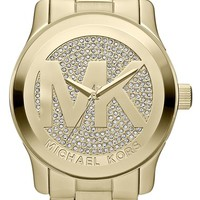 Women's Michael Kors 'Runway' Logo Dial Bracelet Watch, 45mm