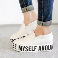 Womens Round Toe Platform Slip On Letter Canvas Shoes Korea Casual Sneakers 2015