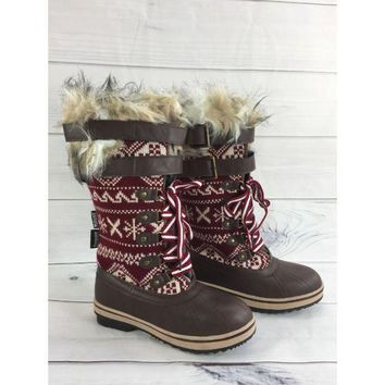 MUK LUKS Women's Allie Lace-Up Knit Snow Boots with Thinsulate Size 7M
