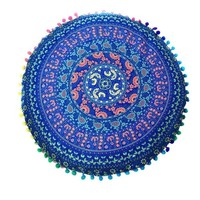 DCCKU7Q Indian Mandala Floor Pillows Round Bohemian decorative pillows velvet covers