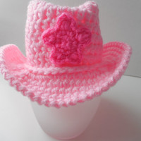 Newborn Cowboy Pink Hat - Cowgirl Hat Baby Photo Prop - Cowgirl Baby - Pink and Hot Pink - Handmade Crochet - Ready to Ship