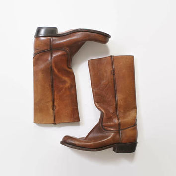Vintage 70s FRYE BOOTS / 1970s Men's Brown Leather Campus Boots 10