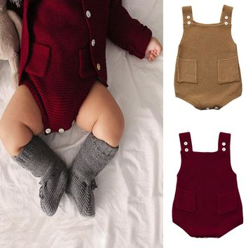 Newborn Baby Girls Solid Knitted Toddler Pocket Jumpsuit Clothes Bodysuit Outfit Sleeveless Baby Bodysuits Fashion Cute Winter+