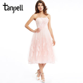 Tanpell strapless cocktail dress pearl pink tea length beaded a line dress cheap sweet 16 appliques homecoming cocktail dresses