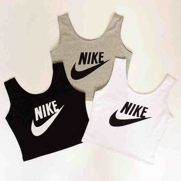 nike reworked crop top vest cami