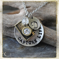 Capture Life - Personalized Hand Stamped Camera Photography Photographer Necklace Stainless Steel by rubiesandwhimsy