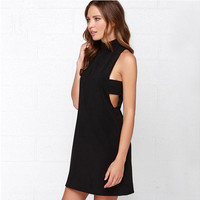 Black High Neck Sleeveless Cutout Sides Shift Mini Dress