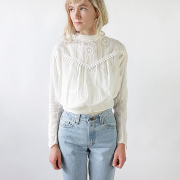 Antique Edwardian Ivory Blouse with Dotted Pintuck Yoke | S