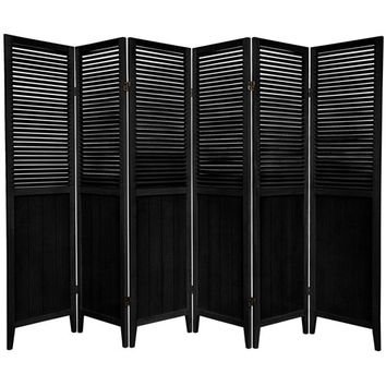 Oriental Furniture SS-BEAD-Black-6P 6 ft. Tall Black Six Panel Beadboard Divider