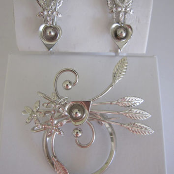 Vintage Signed D'or Sterling Silver Demi Parure Floral Hearts and Arrows Brooch & Earrings Set
