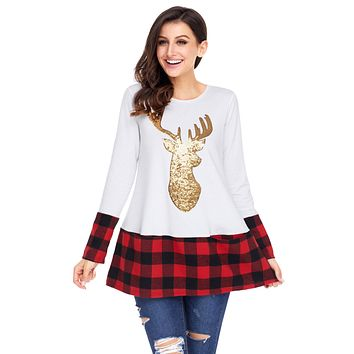 Chicloth Gold Sequin Christmas Reindeer White Tunic with Plaid Detail