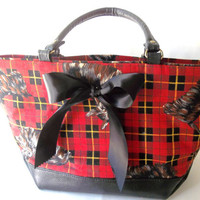 Schnauzer Handbag. Red Tartan Plaid  Purse. Black Bow. Bohemian Chic Tote