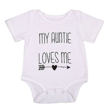 My Auntie Love Me Letter Baby Boy Girls Romper Cute Jumpsuit Cotton Clothes Outfits 0-18M