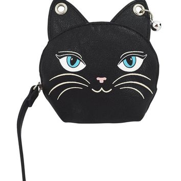 Emo Punk Meow Feline Black Cat Neko Coin Purse