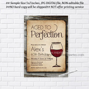 wine invitation, Wine birthday invitation, Aged to Perfection, vintage wood design Party Invitation , Party invitation Design - card 318