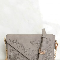 Embroidered Shoulder Purse Grey
