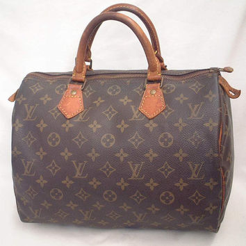 100% Authentic Louis Vuitton Vintage Monogram Speedy 30 Bag Hand Purse Boston leather tote, satchel Mini duffel, brown tan designer LV bag