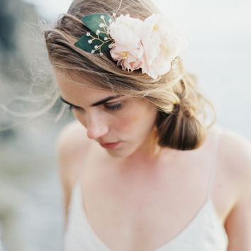 Silk Flower Crown, Blush Pink Floral Crown, Halo, Circlet, Bridal Crown, Hair Wreath- MADE TO ORDER Style 6714
