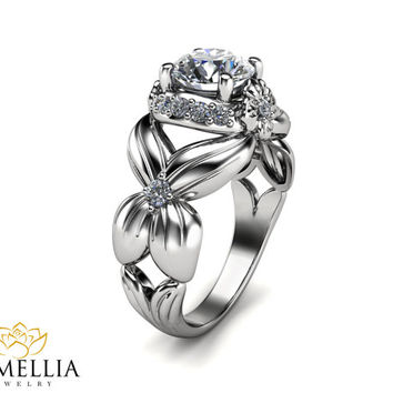 Unique Engagement Ring,14K White Gold Diamond Ring,Art Deco Engagement ring,Diamond Ring,Nature Inspired Ring,Floral Ring,Flower Rings.