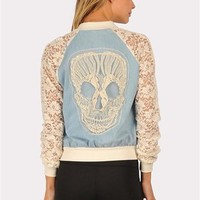 The Bomb Lace Skull Jacket - Blue at Necessary Clothing