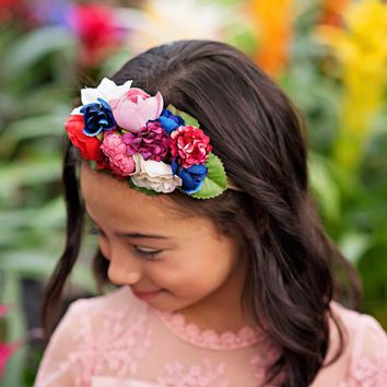 Layla Wine & Pink Floral Headband