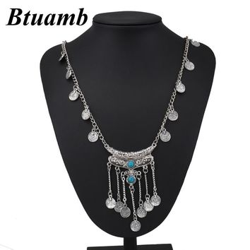 Btuamb Vintage Boho Coin Tassel Necklaces pendants Punk Ethnic Carved Statement Necklaces for Women Tribal Jewelry Gypsy Collier