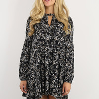 Rebel Flowers Black Floral Print Trapeze Dress With Keyhole Cutout