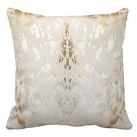 Cowhide, White-Gold, Metallic Acid Wash Print Throw Pillow