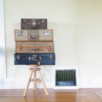 small suitcase/vintage suitcases /vintage luggage /wedding card holder / old suitcase train case old luggage antique roller skate case