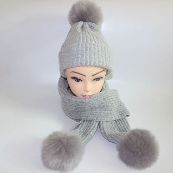 Warm women's winter hats scarves knitted Scarf and Hat Set British style Wool Crochet Cap Fraux Fox fur pompom Beanie hat scarf