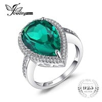Jewelrypalace Luxury Pear Cut 4.9ct Created Emerald Solid 925 Sterling Silver Engagement Ring Water Drop Cut Amazing Gift