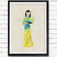Mulan Watercolor Art Print, Baby Girl's Room Nursery Wall Art, Princess Home Decor, Not Framed, Buy 2 Get 1 Free!