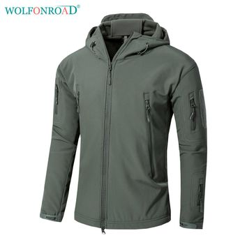 WOLFONROAD Men Outdoor Soft Shell Army Jacket Military Tactical Jacket Waterproof Hiking Hunting Jacket Coat Sport Clothes 4XL